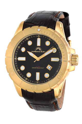 Porsamo Bleu Tommy luxury men's watch, genuine leather band, gold, brown 632ATOL