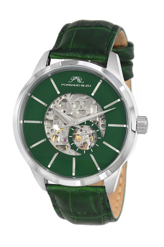 Porsamo Bleu Cassius luxury automatic men's watch, genuine leather band, silver, green 802DCAL