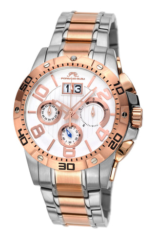 Porsamo Bleu Francoise luxury chronograph men's stainless steel watch, silver, rose, white 241BFRS