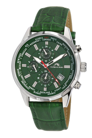 Porsamo Bleu Harrison luxury men's watch, genuine leather band, green 881DHAL