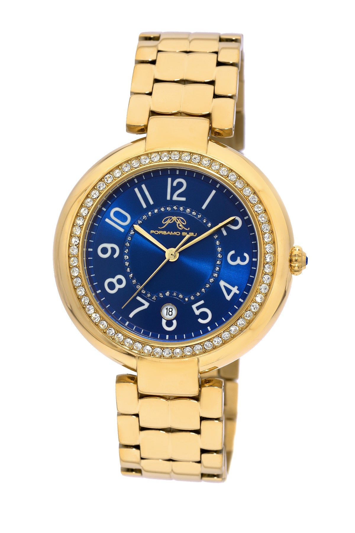 Porsamo Bleu Sofia luxury women's stainless steel watch, gold, blue 952BSOS
