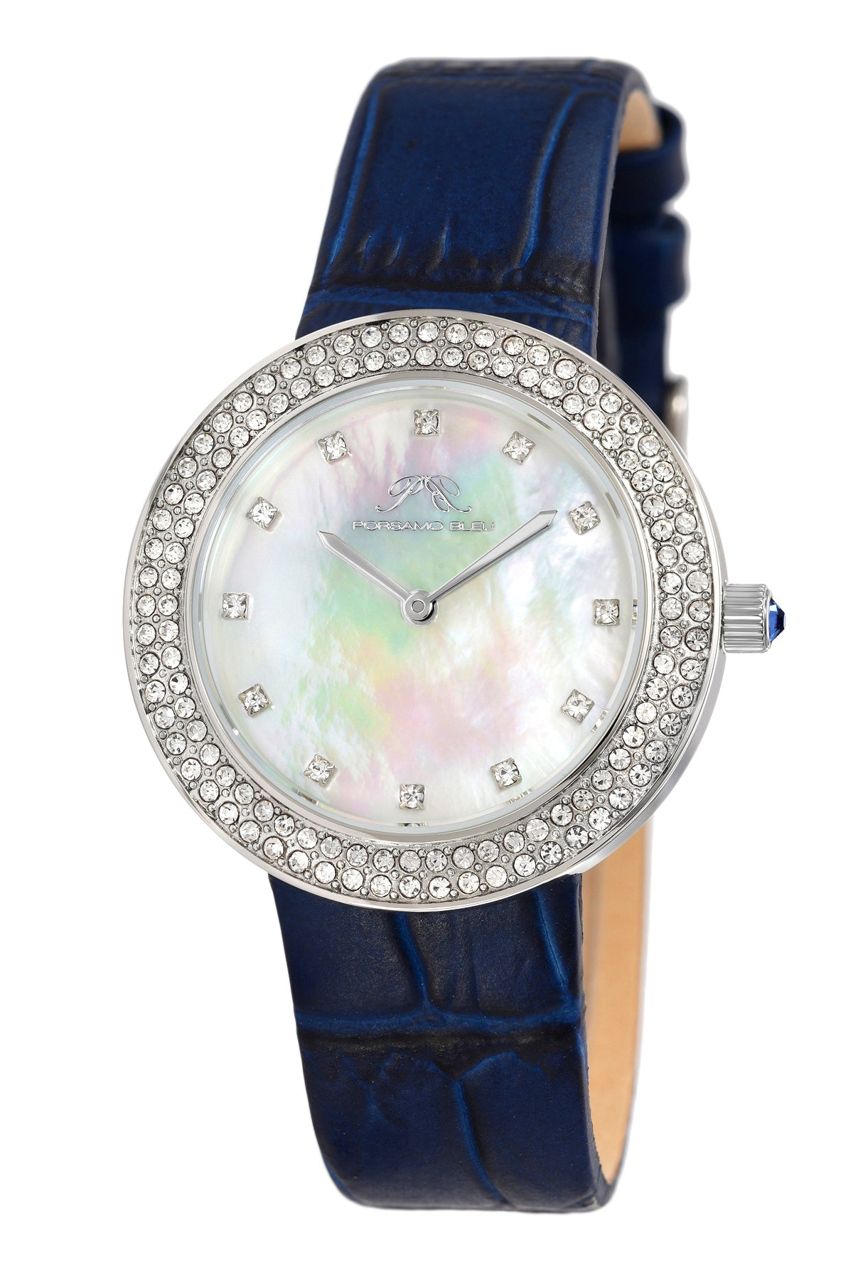 Porsamo Bleu Larissa luxury women's watch, genuine leather band, crystal inlaid bezel, white, silver,blue 892ALAL