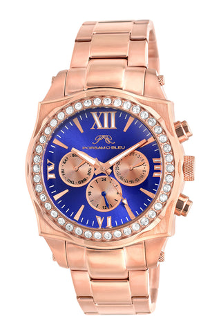 Porsamo Bleu Milan Crystal luxury women's stainless steel watch, Swarovski® crystals, rose, 038EMCS