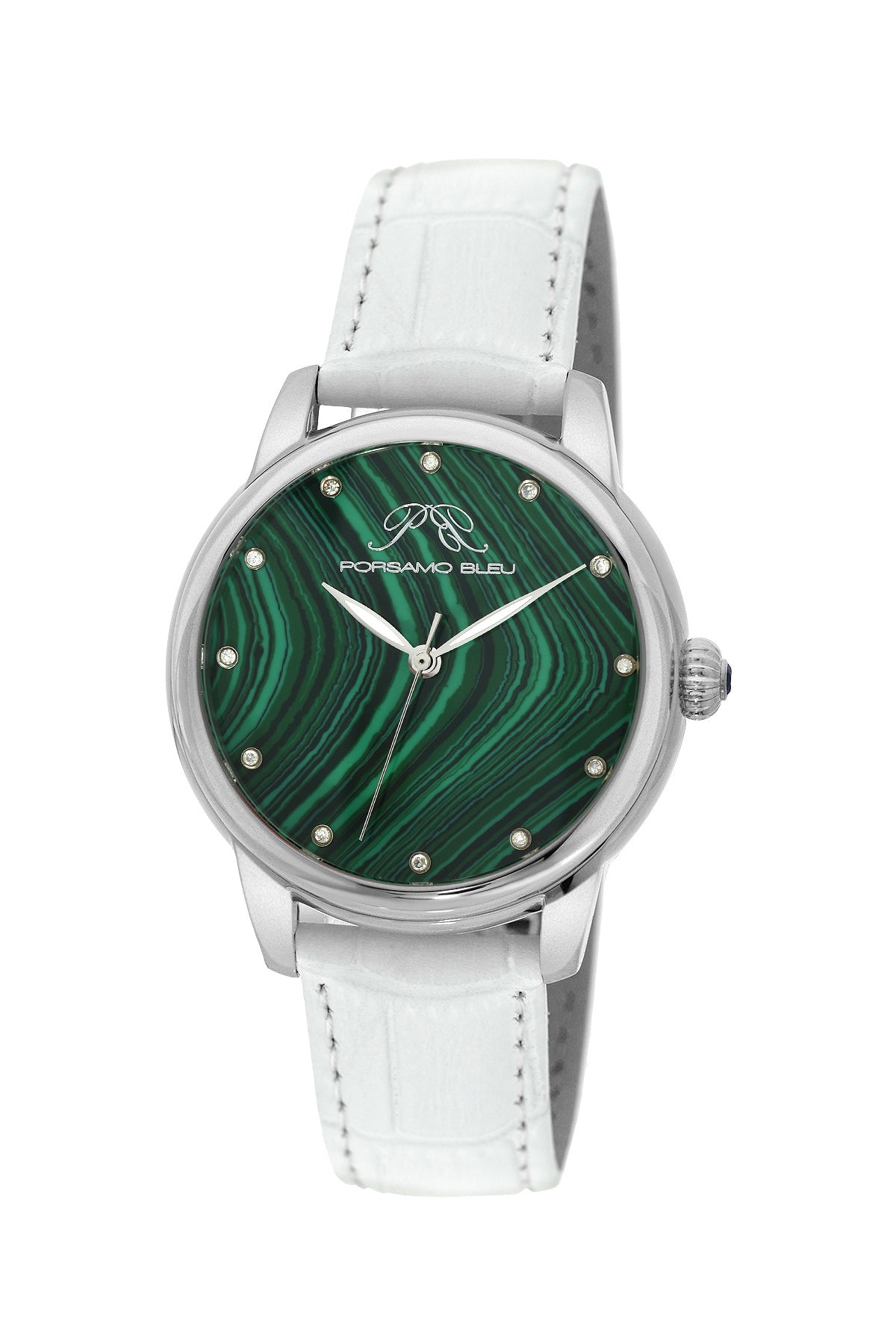 Porsamo Bleu Gemma luxury diamond women's watch, genuine leather band, silver, white, malachite 731CGEL