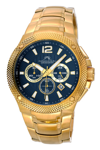 Porsamo Bleu Pierre luxury chronograph men's stainless steel watch, gold tone and blue 253BPIS
