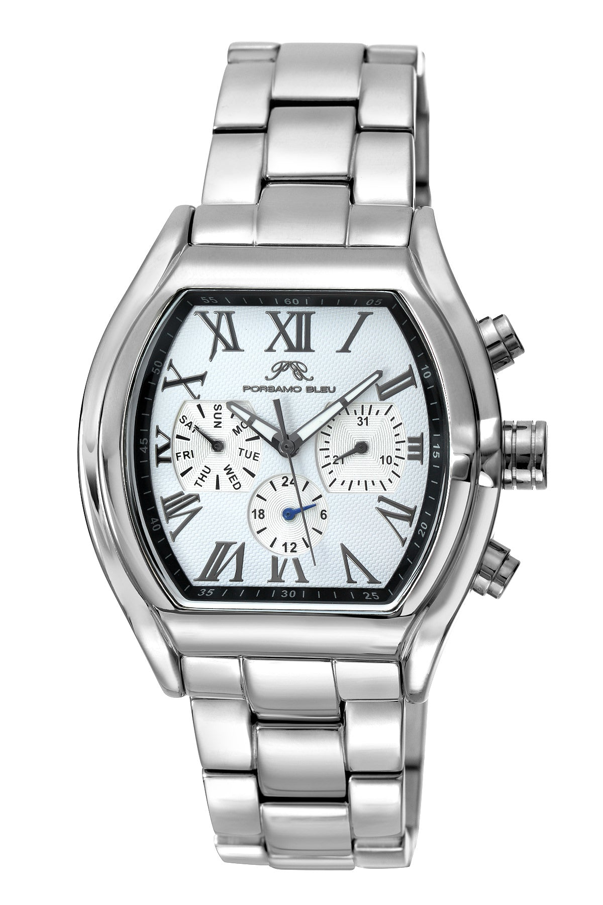 Porsamo Bleu Bruno luxury men's stainless steel watch, silver, white 201ABRS