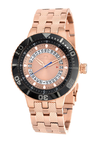 Porsamo Bleu Sebastian luxury men's stainless steel watch, rose, black 461CSES