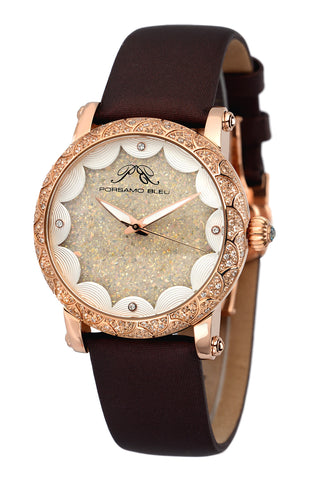 Porsamo Bleu Genevieve luxury topaz women's watch, satin leather watch, rose, brown 681CGEL