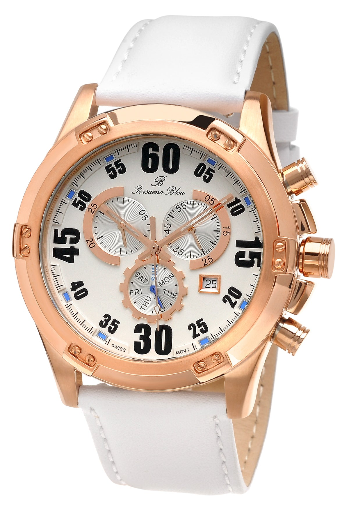 Porsamo Bleu Cancun luxury chronograph men's watch, genuine leather band, rose, white 062ACAL
