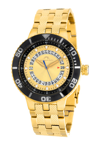 Porsamo Bleu Sebastian luxury men's stainless steel watch, gold, black 461BSES