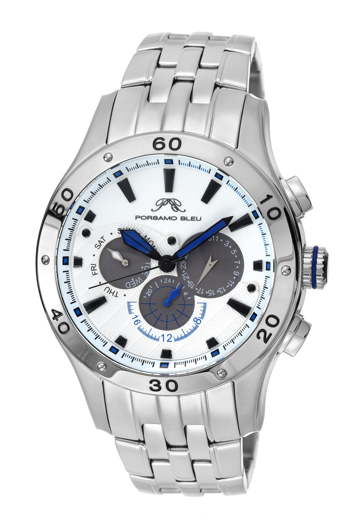 Porsamo Bleu, Andre luxury men's stainless steel watch, silver, white 221AANS