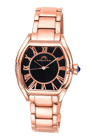 Porsamo Bleu Isabel luxury women's stainless steel watch, rose, black 181CISS