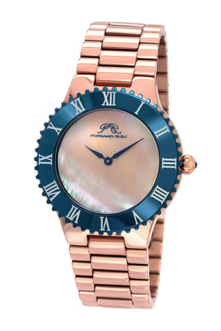 Porsamo Bleu Lexi luxury women's stainless steel watch, rose, blue 942CLES