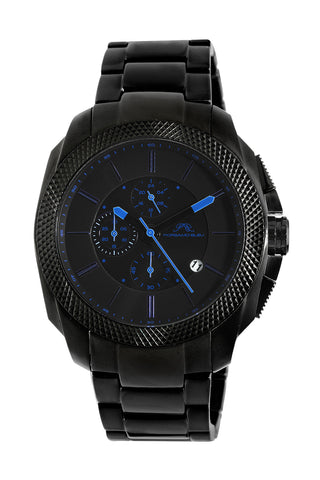 Porsamo Bleu Niccolo luxury chronograph men's stainless steel watch, black, blue 331CNIS