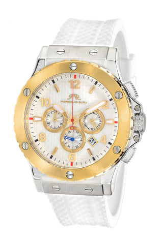 Porsamo Bleu Marcus luxury chronograph men's watch, silicone strap, gold, white 653BMAR