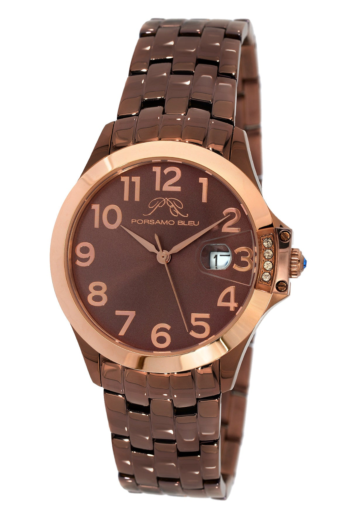 Porsamo Bleu Olivia luxury women's stainless steel watch, rose, brown 984BOLS