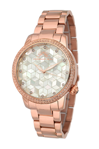 Porsamo Bleu Evelyn luxury topaz women's stainless steel watch, rose, white 761CEVS
