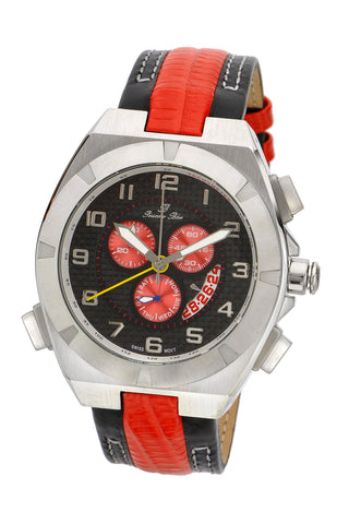 Porsamo Bleu Ibiza luxury chronograph men's watch, genuine leather band, silver black, red 122CIBL