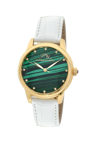 Porsamo Bleu Gemma luxury diamond women's watch, genuine leather band, gold, white, malachite 732CGEL