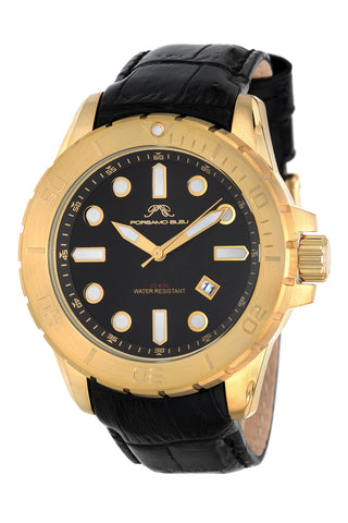Porsamo Bleu Tommy luxury men's watch, genuine leather band, gold, black 631BTOL