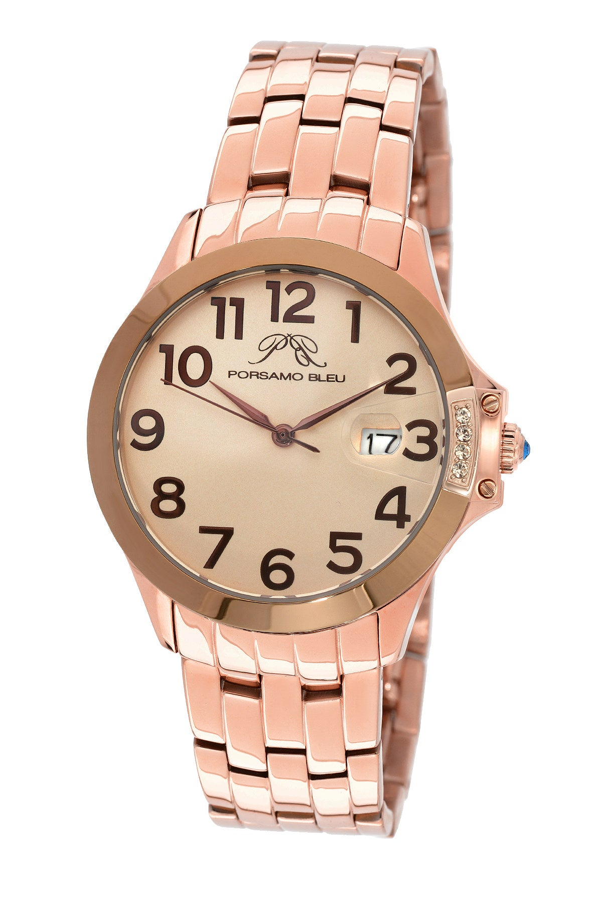 Porsamo Bleu Olivia luxury women's stainless steel watch, rose, brown 984AOLS