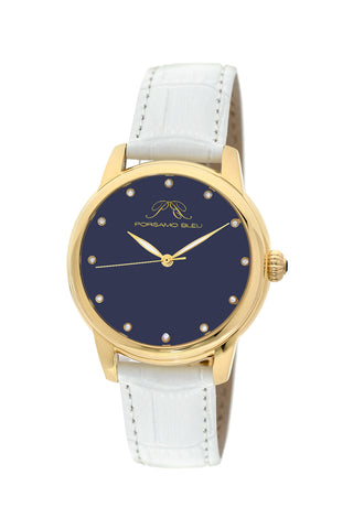 Porsamo Bleu Gemma luxury diamond women's watch, genuine leather band, gold, white, lapis lazuli 732BGEL