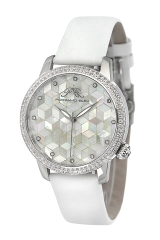 Porsamo Bleu Evelyn luxury topaz women's watch, satin genuine leather band, silver, white 763AEVL