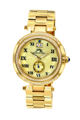 Porsamo Bleu South Sea Crystal luxury women's stainless steel watch, gold 104CSSC