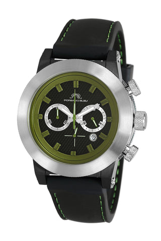 Porsamo Bleu Finley luxury chronograph men's watch, silicone strap, silver, black, green 402CFIR