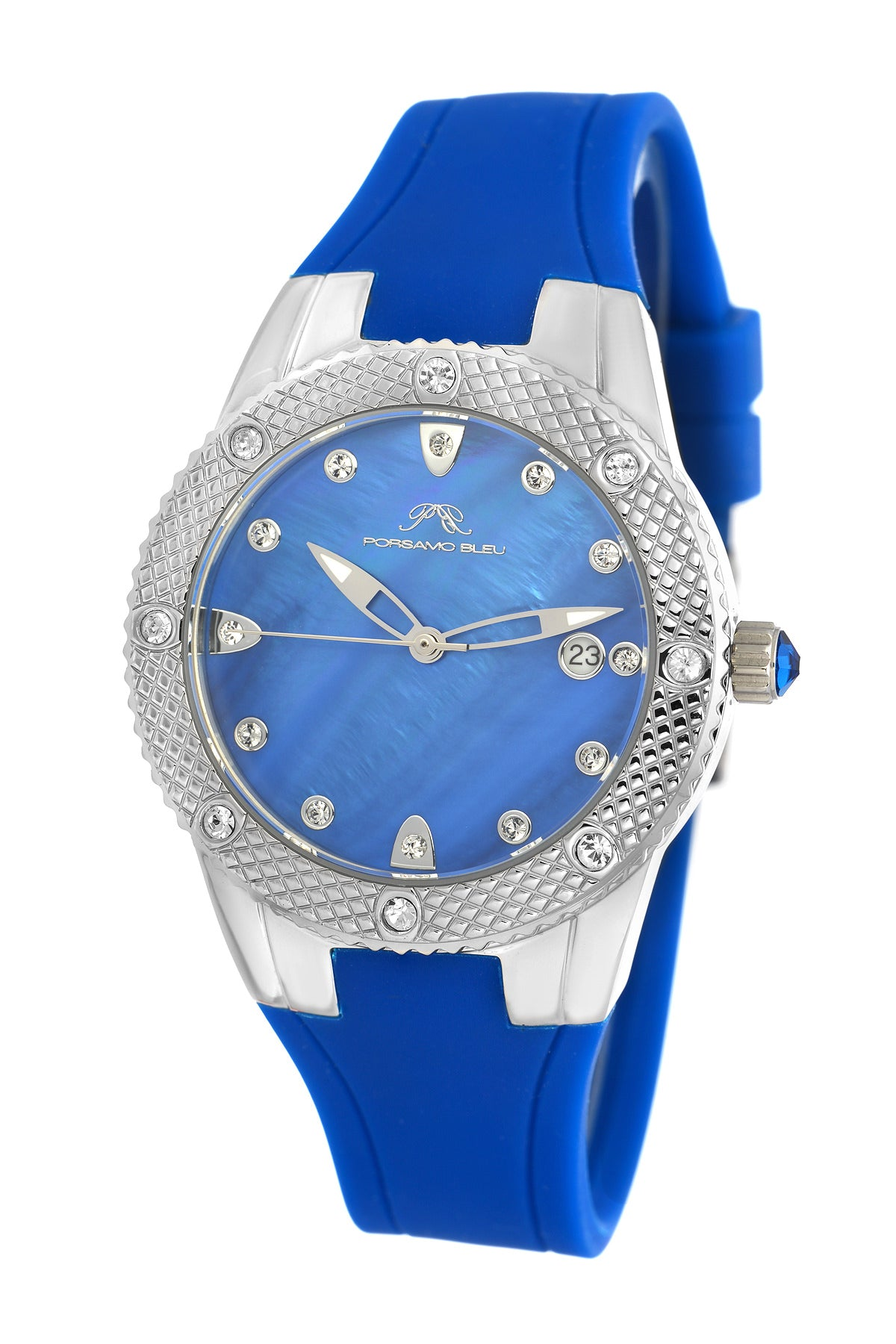Porsamo Bleu Linda luxury women's watch, silicone strap, silver, blue 492ALIR