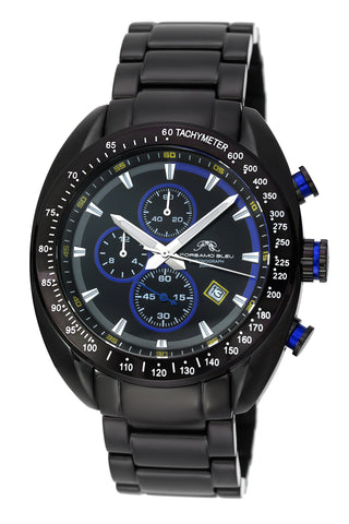Porsamo Bleu Julien luxury  chronograph men's stainless steel watch, black, blue 272BJUS
