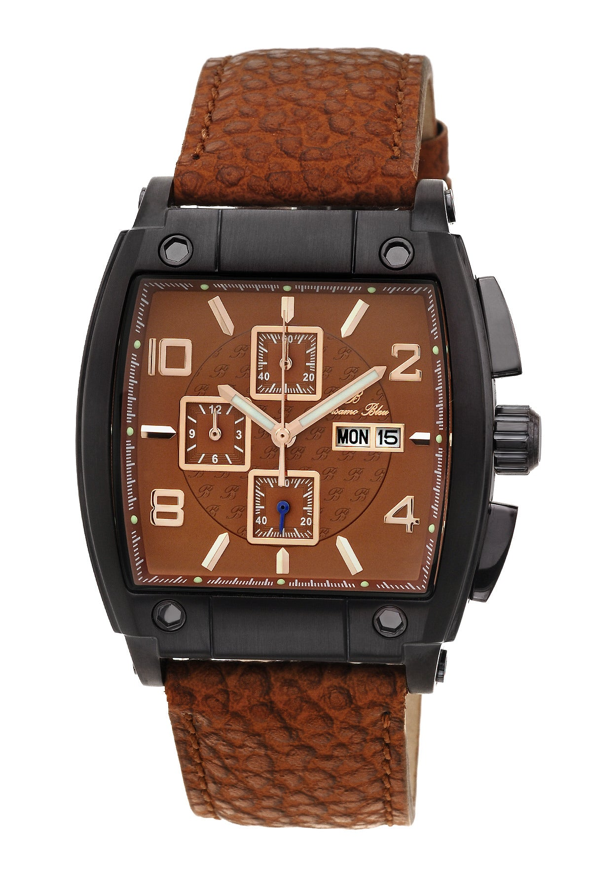 Porsamo Bleu London luxury chronograph men's watch, genuine leather band, black, brown 142DLOL