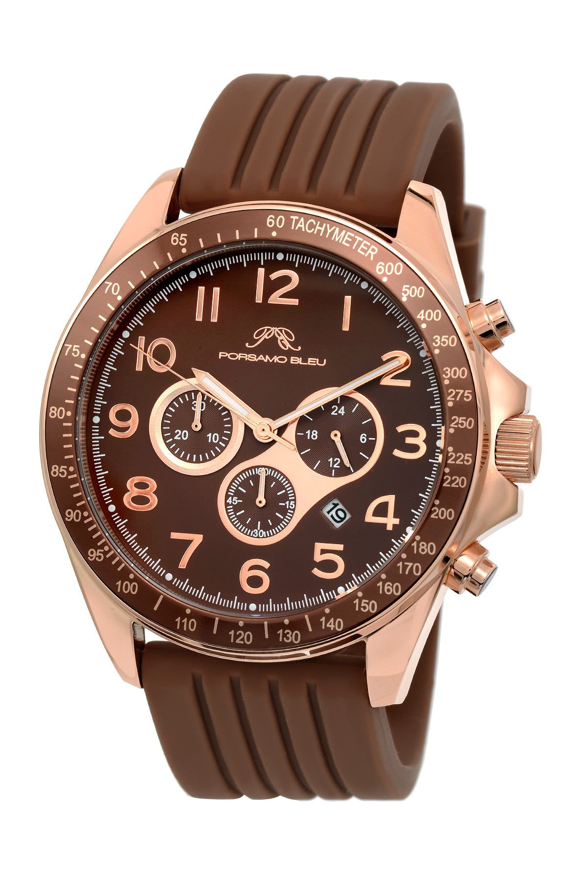 Porsamo Bleu Wolfgang luxury  chronograph men's watch, silicone strap, rose, brown 571CWOR