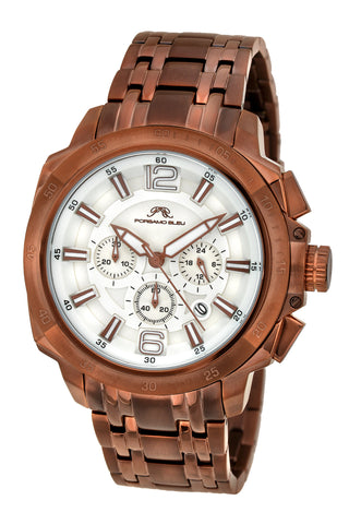 Porsamo Bleu Olivier luxury chronograph men's stainless steel watch, brown 321DOLS