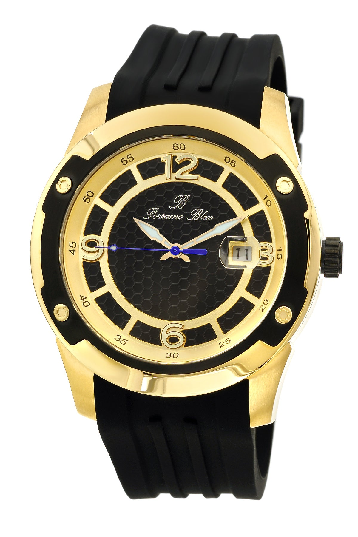 Porsamo Bleu Tokyo luxury Automatic men's watch, silicone strap, gold, black 171BTOR