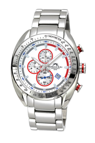 Porsamo Bleu Julien luxury  chronograph men's stainless steel watch, silver, white, red 271AJUS