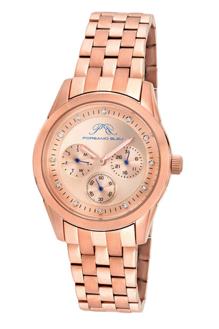 Porsamo Bleu Diana luxury diamond women's stainless steel watch, rose 741CDIS