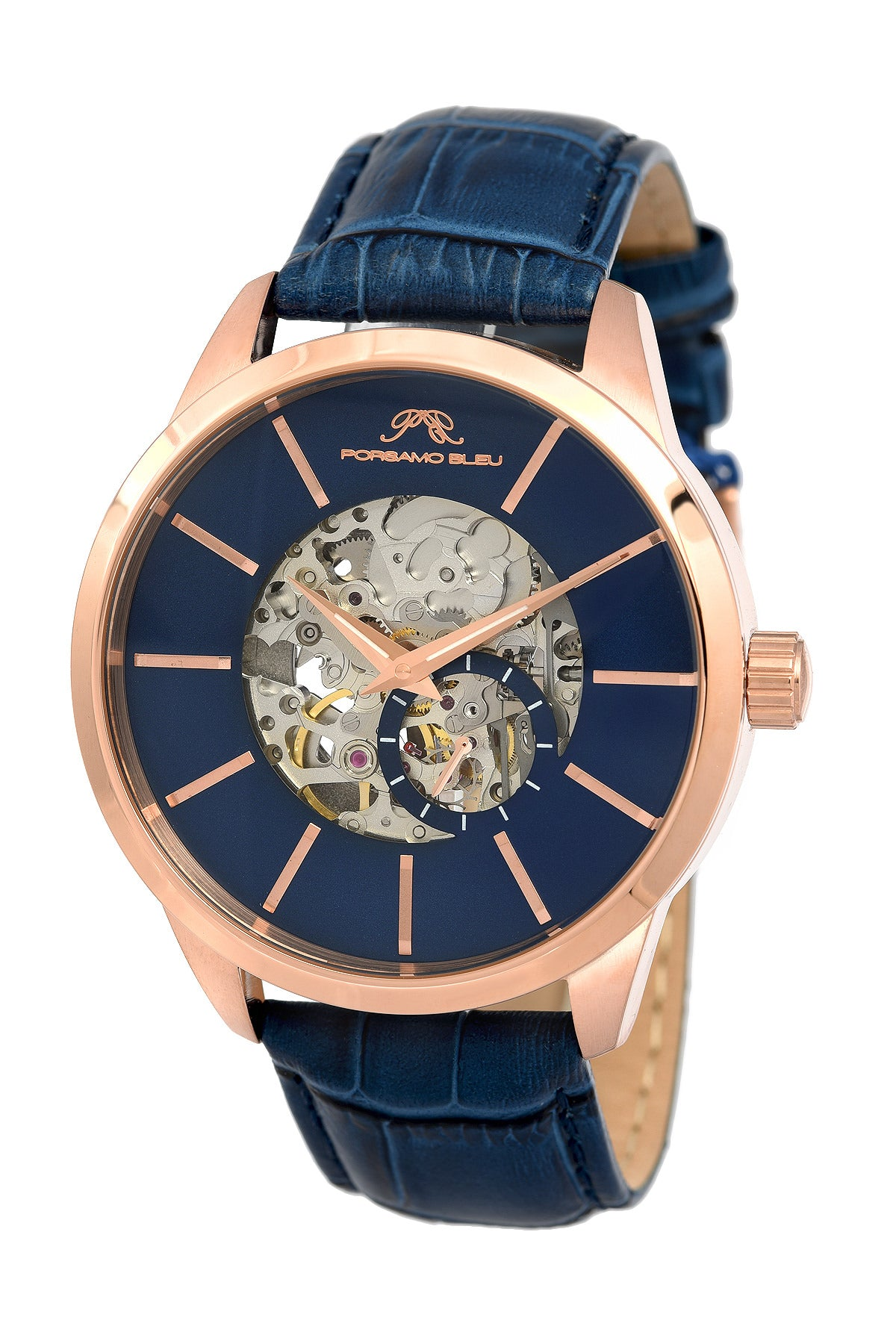 Porsamo Bleu Cassius luxury automatic men's watch, genuine leather band, rose, blue 802CCAL