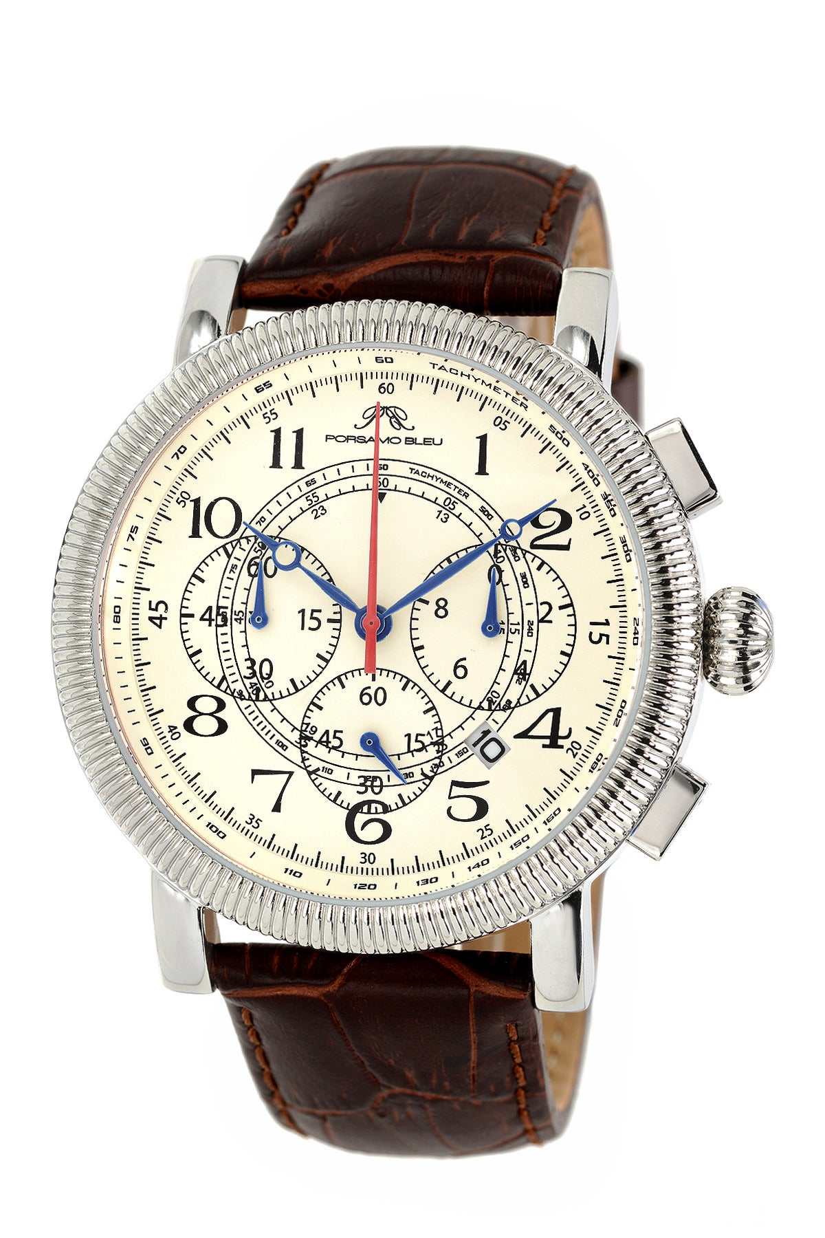 Porsamo Bleu Phileas luxury chronograph men's watch, genuine leather band silver, brown 471APHL
