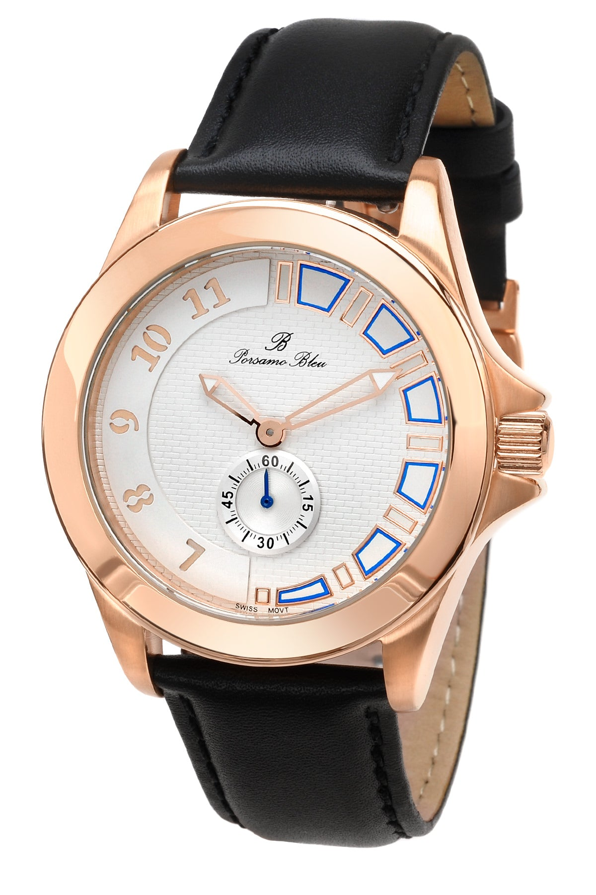 Porsamo Bleu Soho luxury mens dress watch with genuine leather band rose tone and black 042BSOL