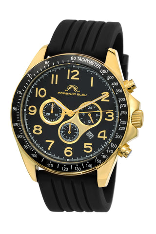 Porsamo Bleu Wolfgang luxury  chronograph men's watch, silicone strap, gold, black 571BWOR