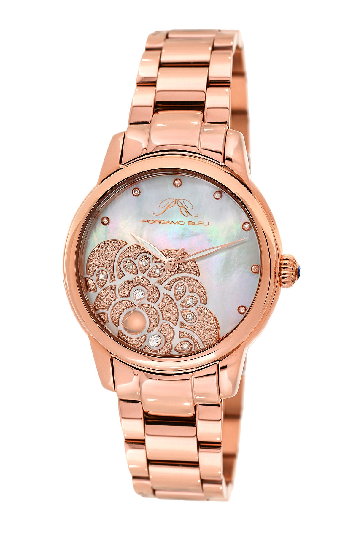 Porsamo Bleu Juliet luxury diamond, opal women's stainless steel watch, rose 701CJUS