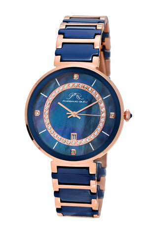 Porsamo Bleu Alexandra luxury ceramic women's watch, rose, blue 792CALC