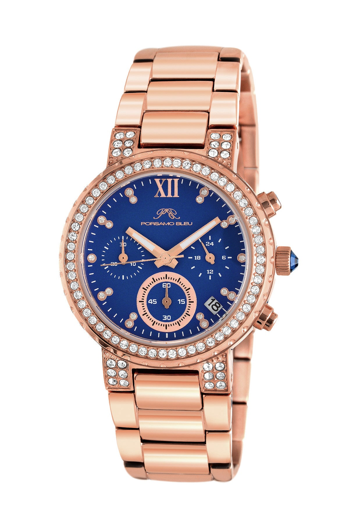 Porsamo Bleu Pilar luxury chronograph women's stainless steel watch, rose, blue 502CPIS
