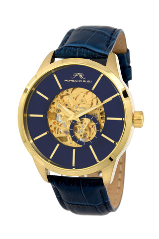 Porsamo Bleu Cassius luxury automatic men's watch, genuine leather band, gold, blue 802BCAL