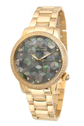 Porsamo Bleu Evelyn luxury topaz women's stainless steel watch, gold, black 762BEVS