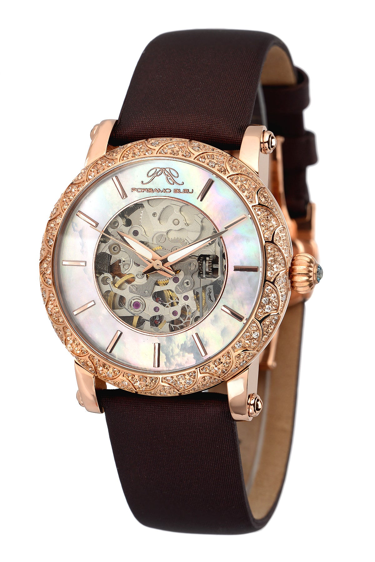 Porsamo Bleu Liza luxury automatic topaz women's watch, satin leather watch, rose, brown 691CLIL