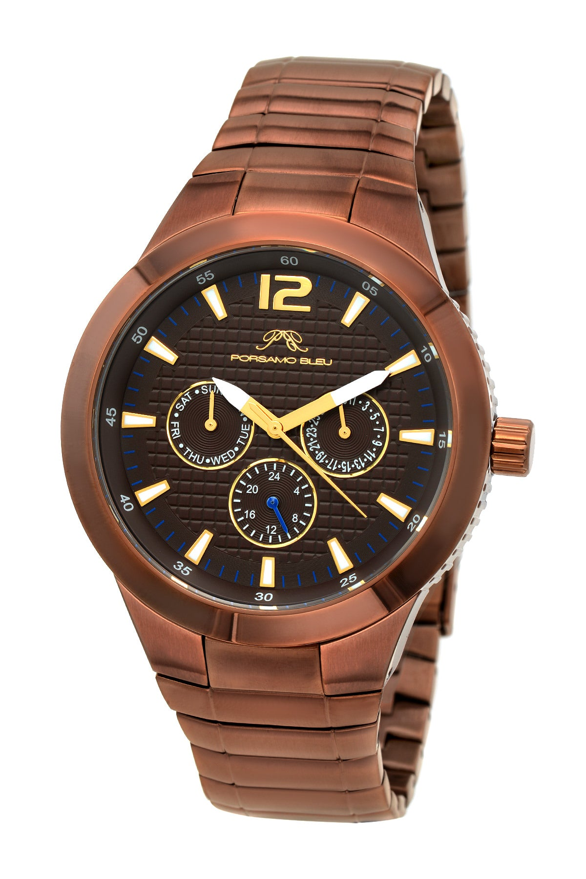 Porsamo Bleu Luca luxury men's stainless steel watch, brown, black 531ELUS