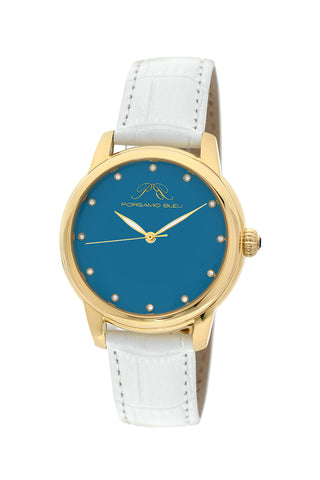 Porsamo Bleu Gemma luxury diamond women's watch, genuine leather band, gold, white, turquoise 732AGEL