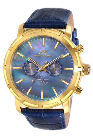 Porsamo Bleu NYC luxury men's watch, genuine leather band, gold, blue 056BNYL